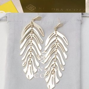 Kendra Scott Lotus Statement Earrings In Gold NEW